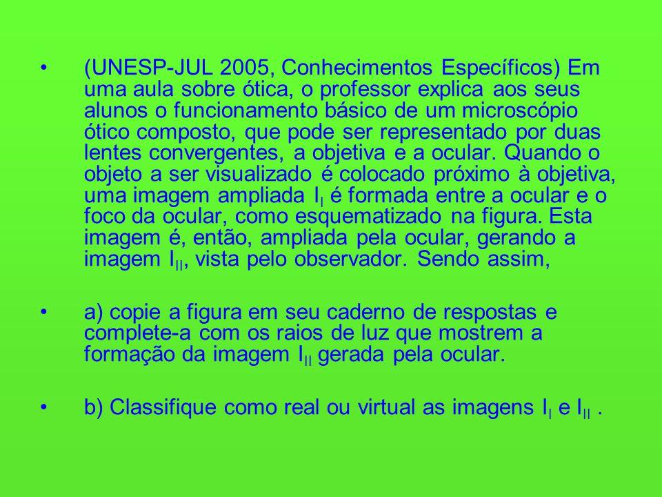 (UNESP-JUL 2005, Conhecimentos Específicos) Em uma aula sobre ótica, o professor explica aos seus alunos o funcionamento básico de um microscópio ótico composto, que pode ser representado por duas lentes convergentes, a objetiva e a ocular. Quando o objeto a ser visualizado é colocado próximo à objetiva, uma imagem ampliada II é formada entre a ocular e o foco da ocular, como esquematizado na figura. Esta imagem é, então, ampliada pela ocular, gerando a imagem III, vista pelo observador. Sendo assim,