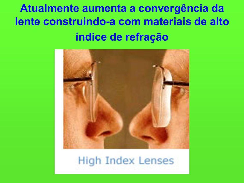 Atualmente aumenta a convergência da lente construindo-a com materiais de alto índice de refração