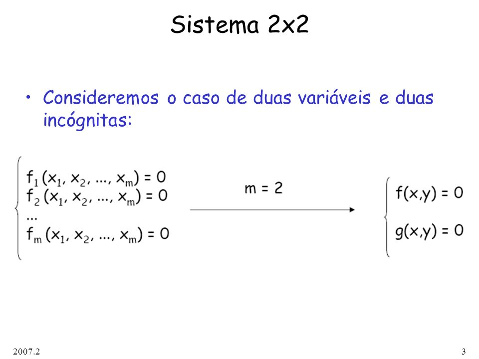 Sistema 2x2 Consideremos o caso de duas variáveis e duas incógnitas: