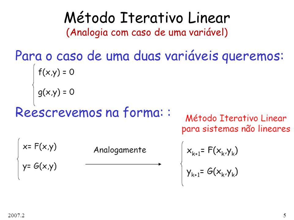 Método Iterativo Linear (Analogia com caso de uma variável)