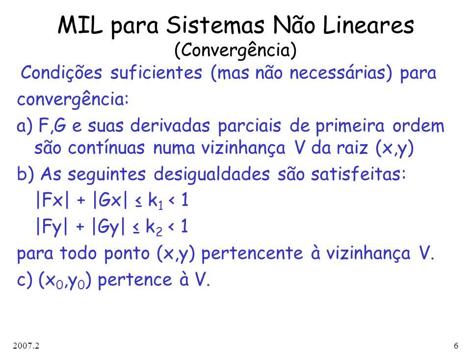 MIL para Sistemas Não Lineares (Convergência)