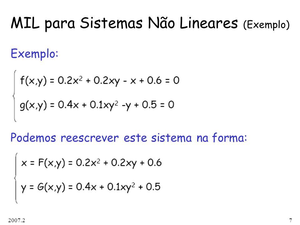 MIL para Sistemas Não Lineares (Exemplo)