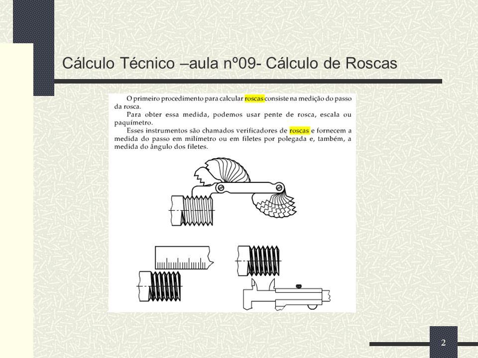 Cálculo Técnico –aula nº09- Cálculo de Roscas