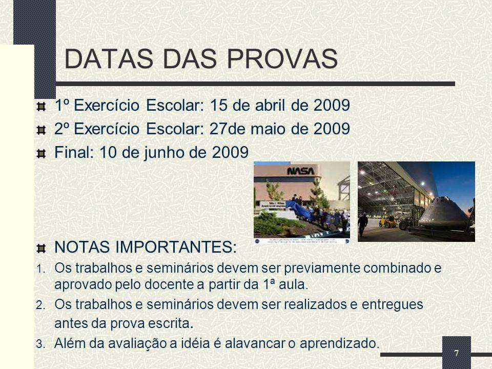 DATAS DAS PROVAS 1º Exercício Escolar: 15 de abril de 2009