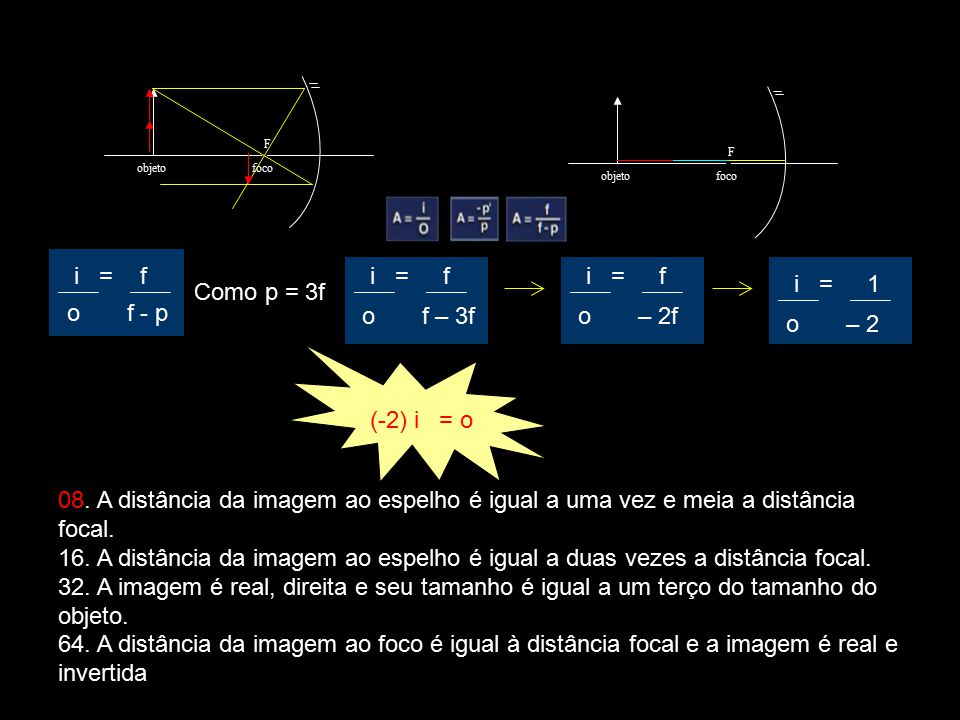 i = f i = f i = f i = 1 Como p = 3f o f - p o f – 3f o – 2f o – 2