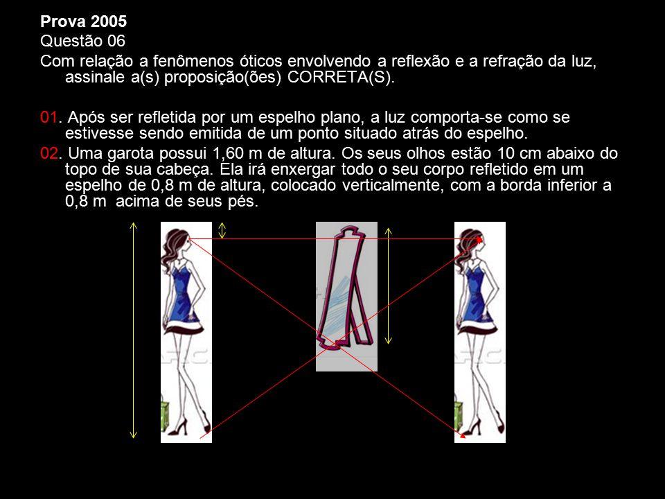 Prova 2005 Questão 06. Com relação a fenômenos óticos envolvendo a reflexão e a refração da luz, assinale a(s) proposição(ões) CORRETA(S).