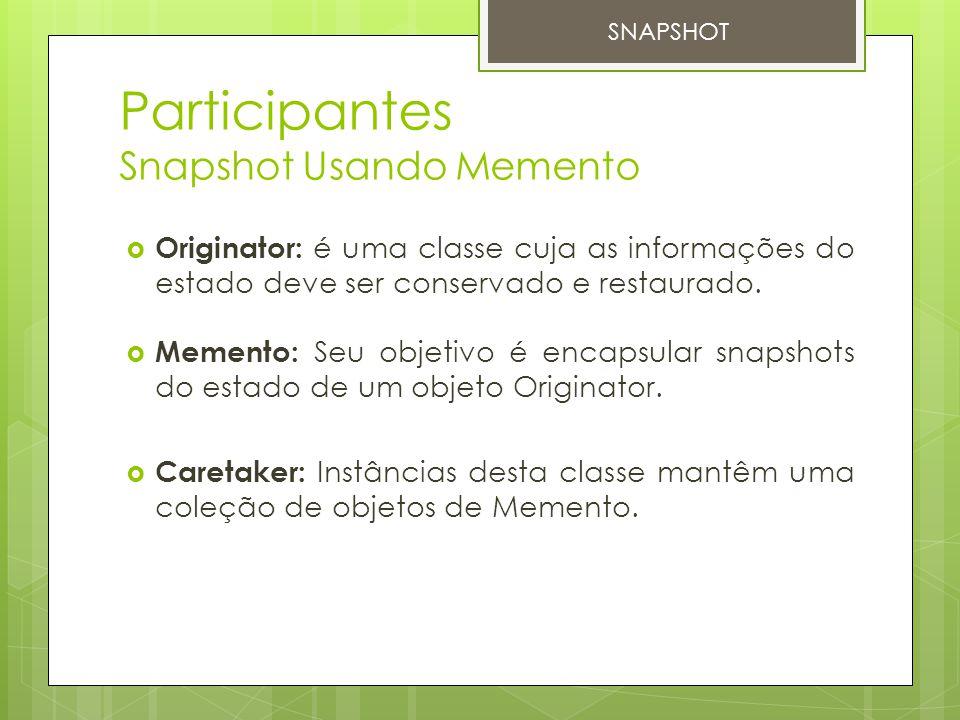 Participantes Snapshot Usando Memento