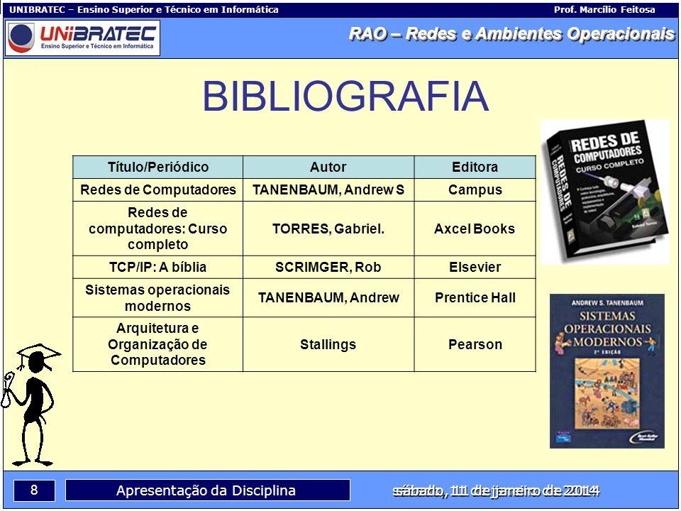 BIBLIOGRAFIA Título/Periódico Autor Editora Redes de Computadores