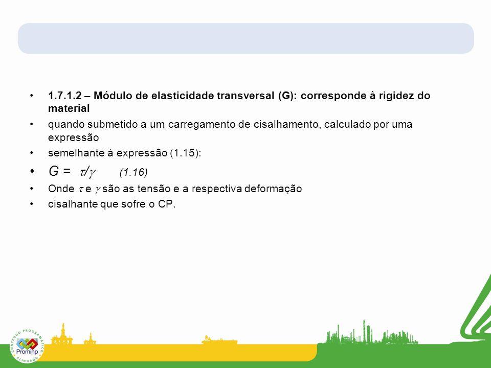 1.7.1.2 – Módulo de elasticidade transversal (G): corresponde à rigidez do material