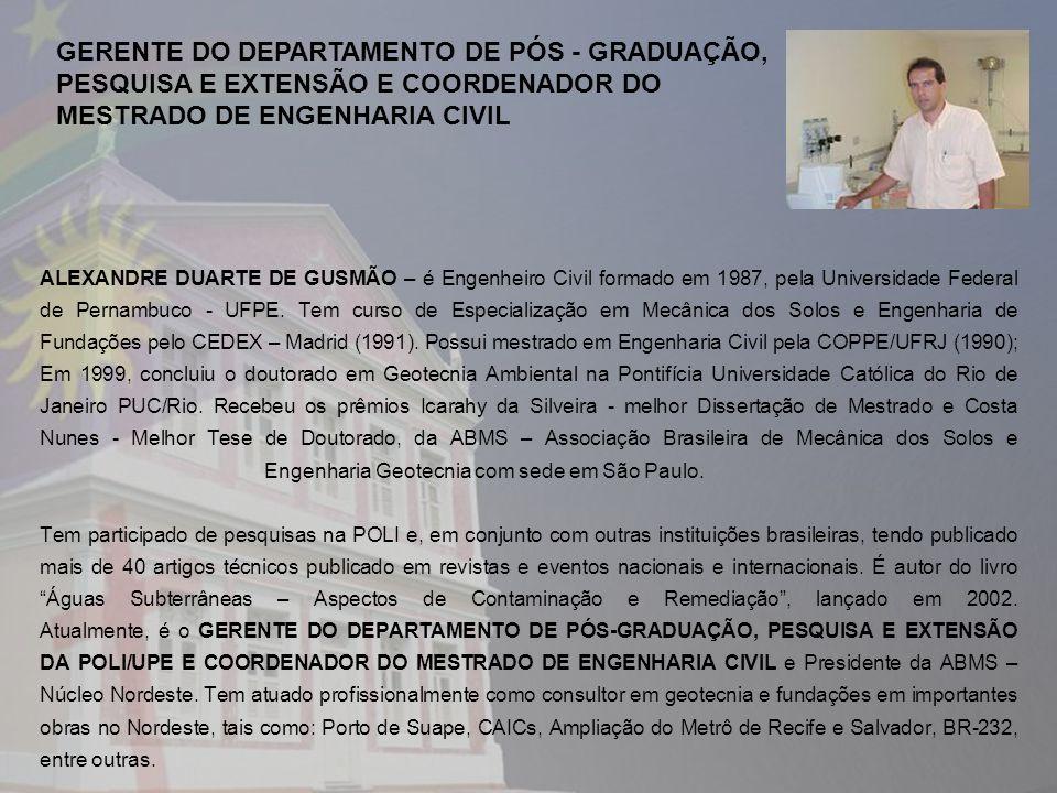 GERENTE DO DEPARTAMENTO DE PÓS - GRADUAÇÃO,