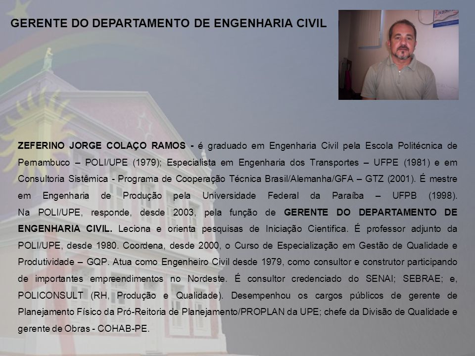 GERENTE DO DEPARTAMENTO DE ENGENHARIA CIVIL