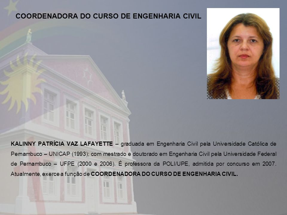 COORDENADORA DO CURSO DE ENGENHARIA CIVIL