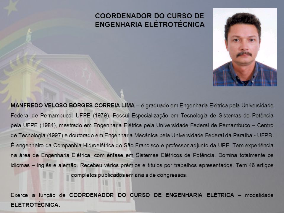 COORDENADOR DO CURSO DE ENGENHARIA ELÉTROTÉCNICA