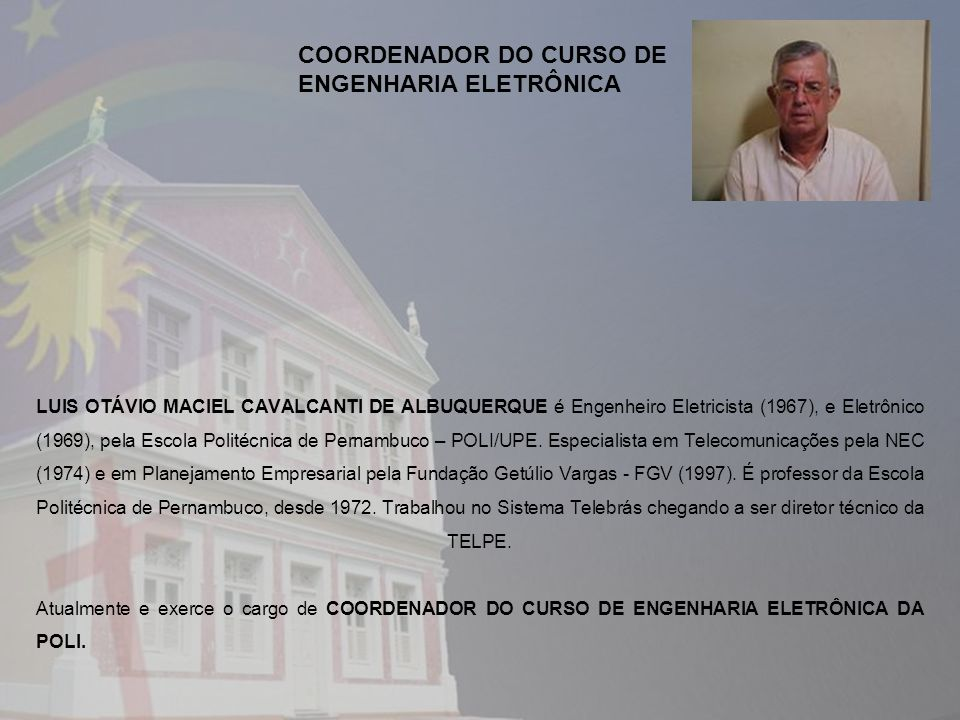 COORDENADOR DO CURSO DE ENGENHARIA ELETRÔNICA