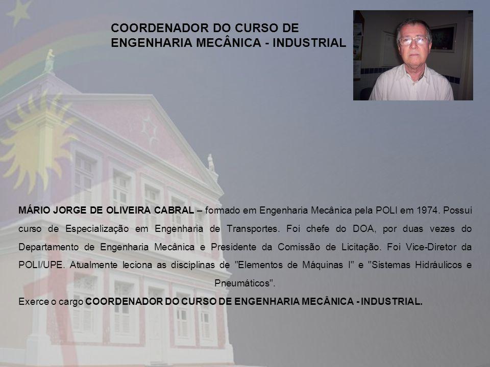 COORDENADOR DO CURSO DE ENGENHARIA MECÂNICA - INDUSTRIAL