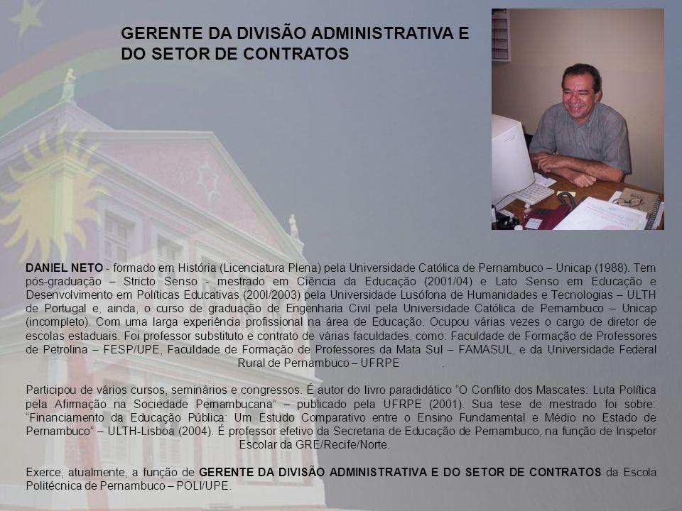 GERENTE DA DIVISÃO ADMINISTRATIVA E DO SETOR DE CONTRATOS