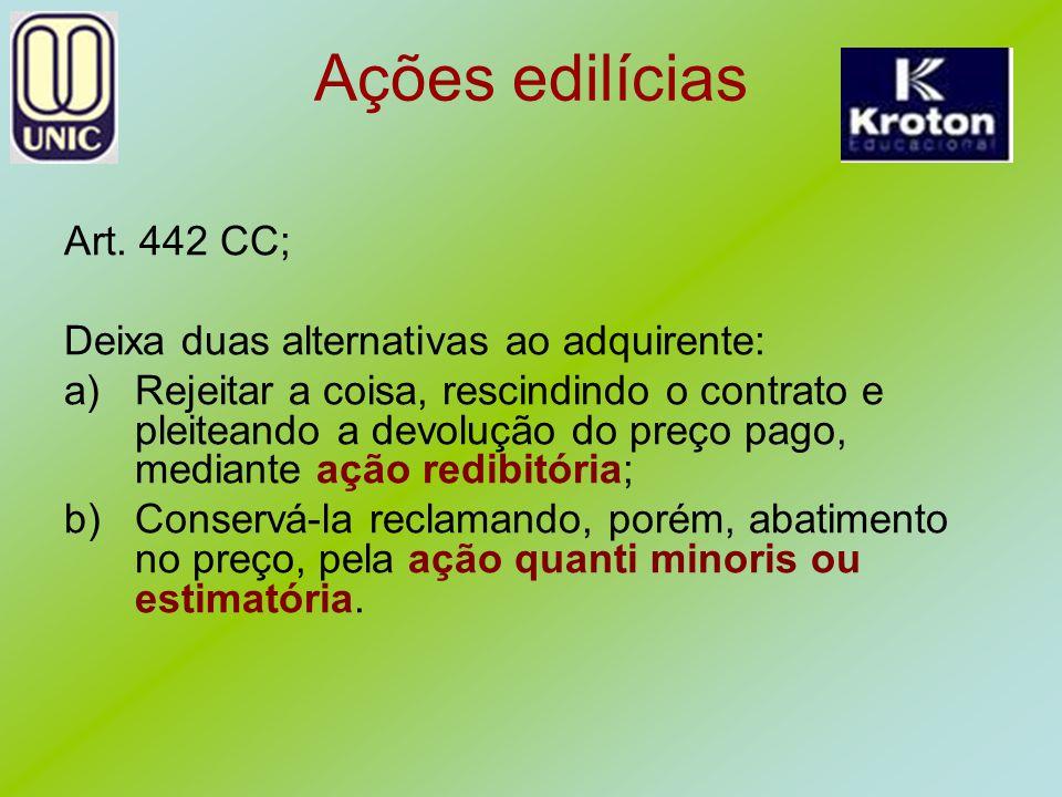 Ações edilícias Art. 442 CC; Deixa duas alternativas ao adquirente: