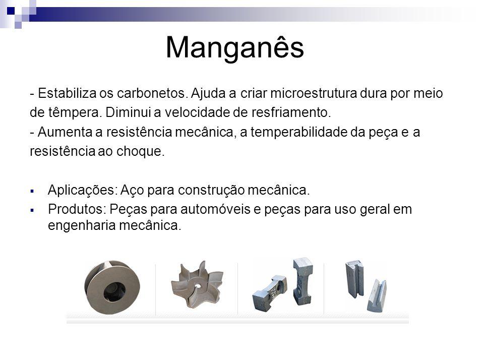 Manganês - Estabiliza os carbonetos. Ajuda a criar microestrutura dura por meio. de têmpera. Diminui a velocidade de resfriamento.