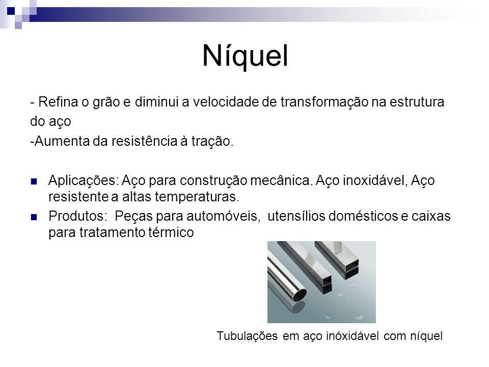 Níquel- Refina o grão e diminui a velocidade de transformação na estrutura. do aço. -Aumenta da resistência à tração.