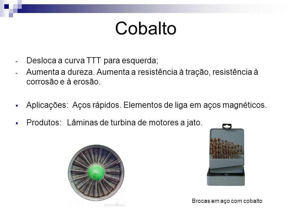 Cobalto Desloca a curva TTT para esquerda;