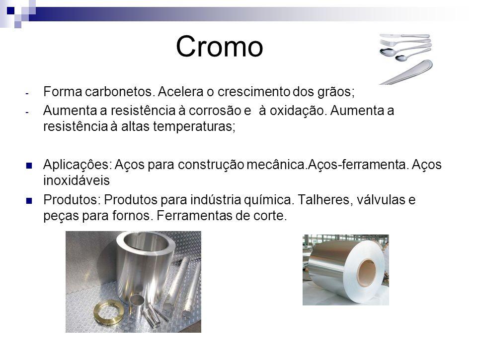 Cromo Forma carbonetos. Acelera o crescimento dos grãos;