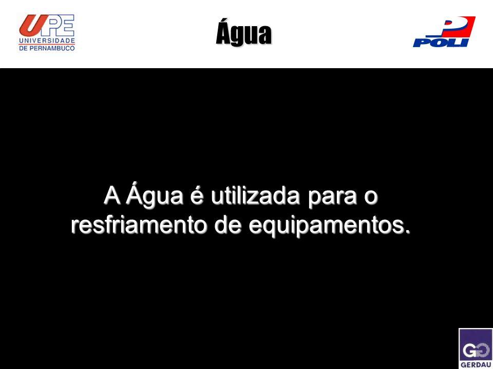 A Água é utilizada para o resfriamento de equipamentos.