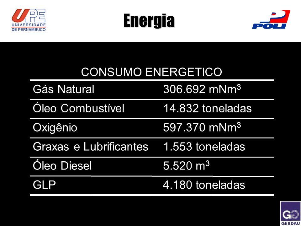 Energia CONSUMO ENERGETICO Gás Natural 306.692 mNm3 Óleo Combustível