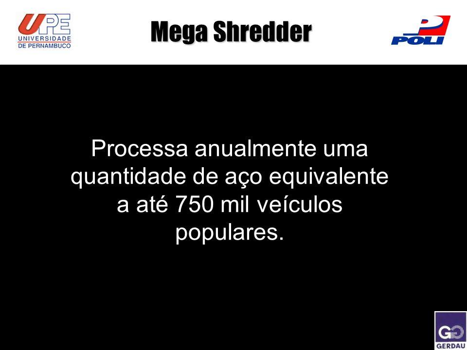 Mega Shredder Processa anualmente uma quantidade de aço equivalente a até 750 mil veículos populares.