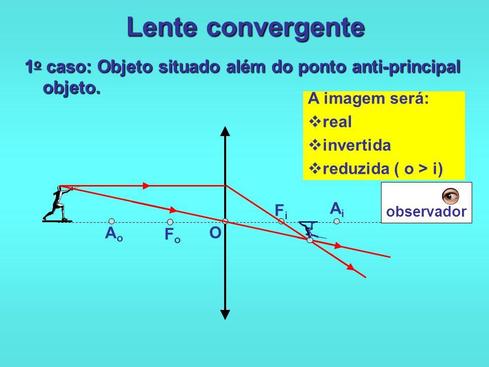 Lente convergente 1o caso: Objeto situado além do ponto anti-principal objeto. A imagem será: real.