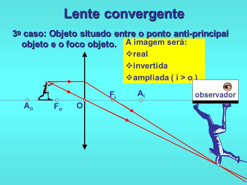 Lente convergente 3o caso: Objeto situado entre o ponto anti-principal objeto e o foco objeto. A imagem será: