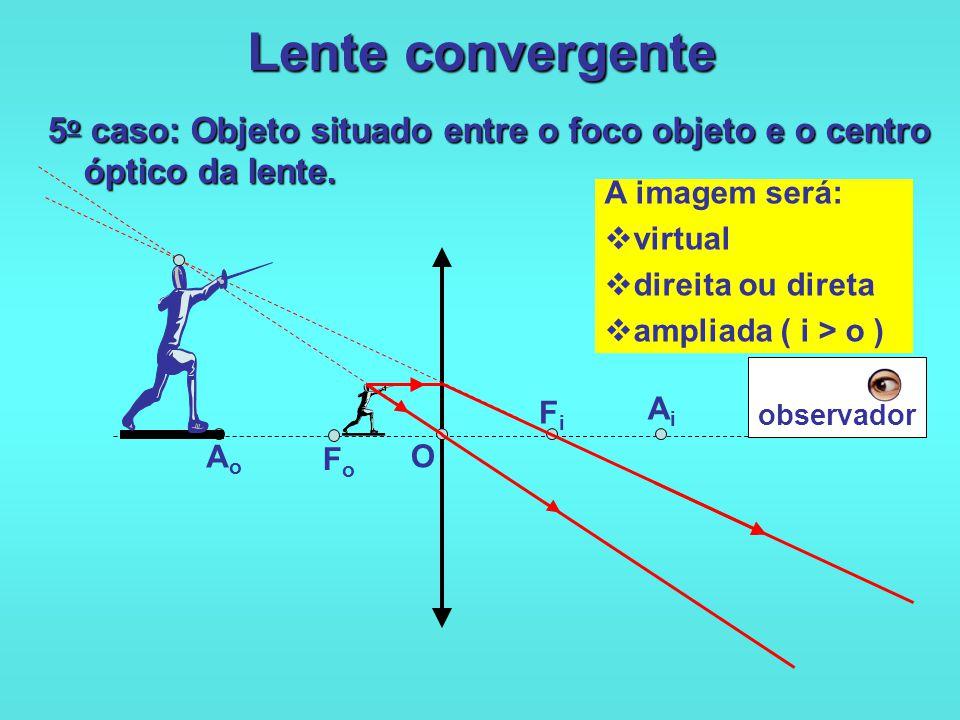Lente convergente 5o caso: Objeto situado entre o foco objeto e o centro óptico da lente. A imagem será: