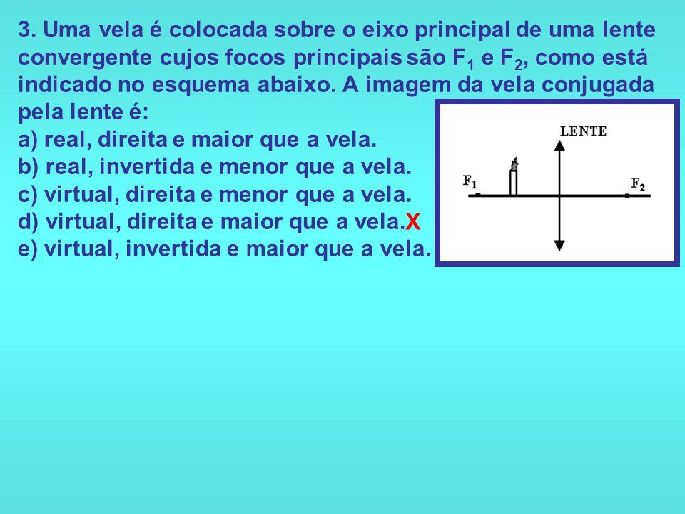 3. Uma vela é colocada sobre o eixo principal de uma lente convergente cujos focos principais são F1 e F2, como está indicado no esquema abaixo. A imagem da vela conjugada pela lente é: a) real, direita e maior que a vela. b) real, invertida e menor que a vela. c) virtual, direita e menor que a vela. d) virtual, direita e maior que a vela. e) virtual, invertida e maior que a vela.