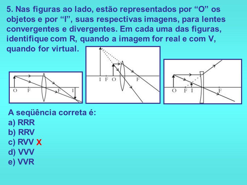 5. Nas figuras ao lado, estão representados por O os objetos e por I , suas respectivas imagens, para lentes convergentes e divergentes. Em cada uma das figuras, identifique com R, quando a imagem for real e com V, quando for virtual.