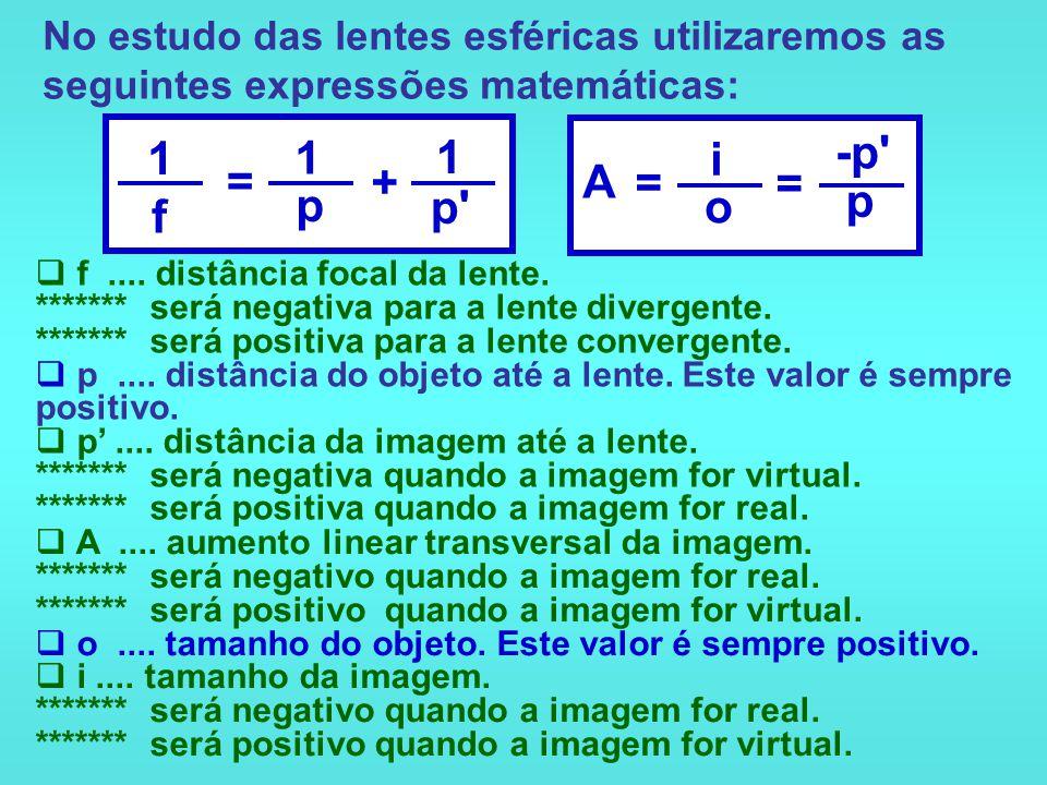 No estudo das lentes esféricas utilizaremos as seguintes expressões matemáticas: