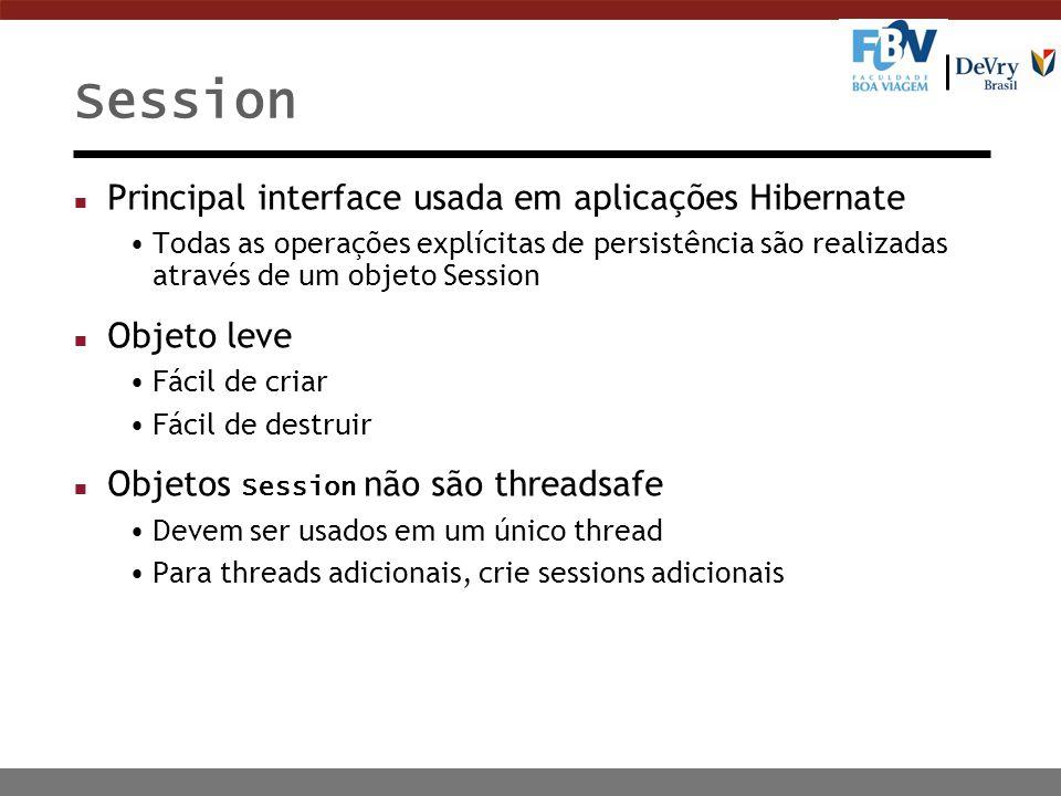 Session Principal interface usada em aplicações Hibernate Objeto leve