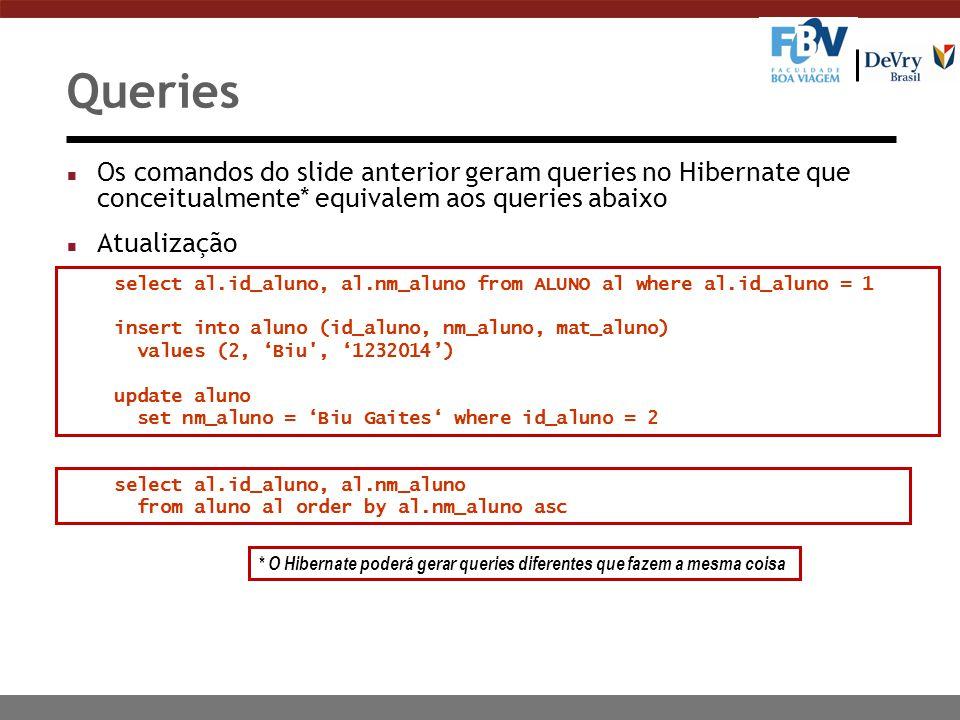 Queries Os comandos do slide anterior geram queries no Hibernate que conceitualmente* equivalem aos queries abaixo.