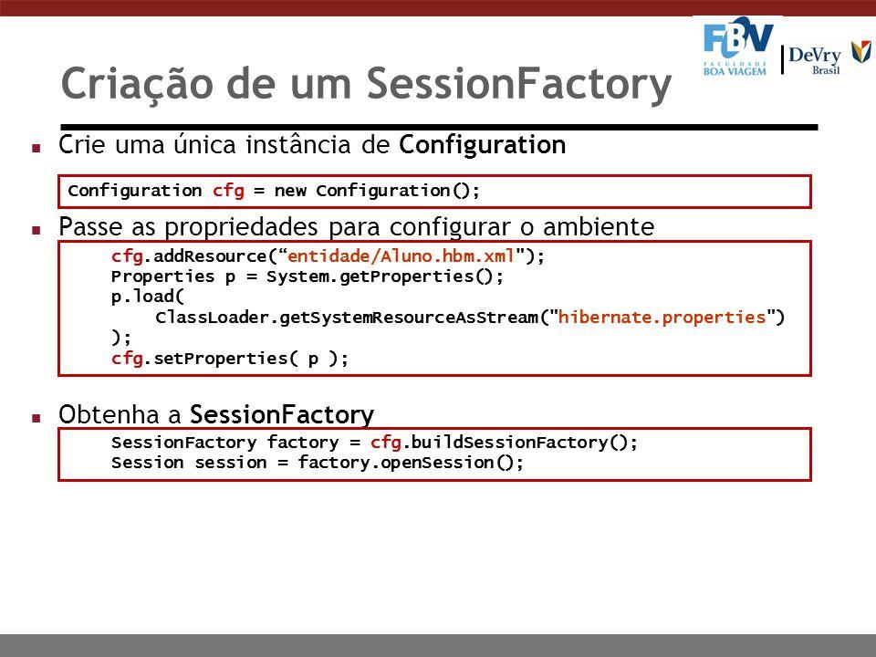 Criação de um SessionFactory