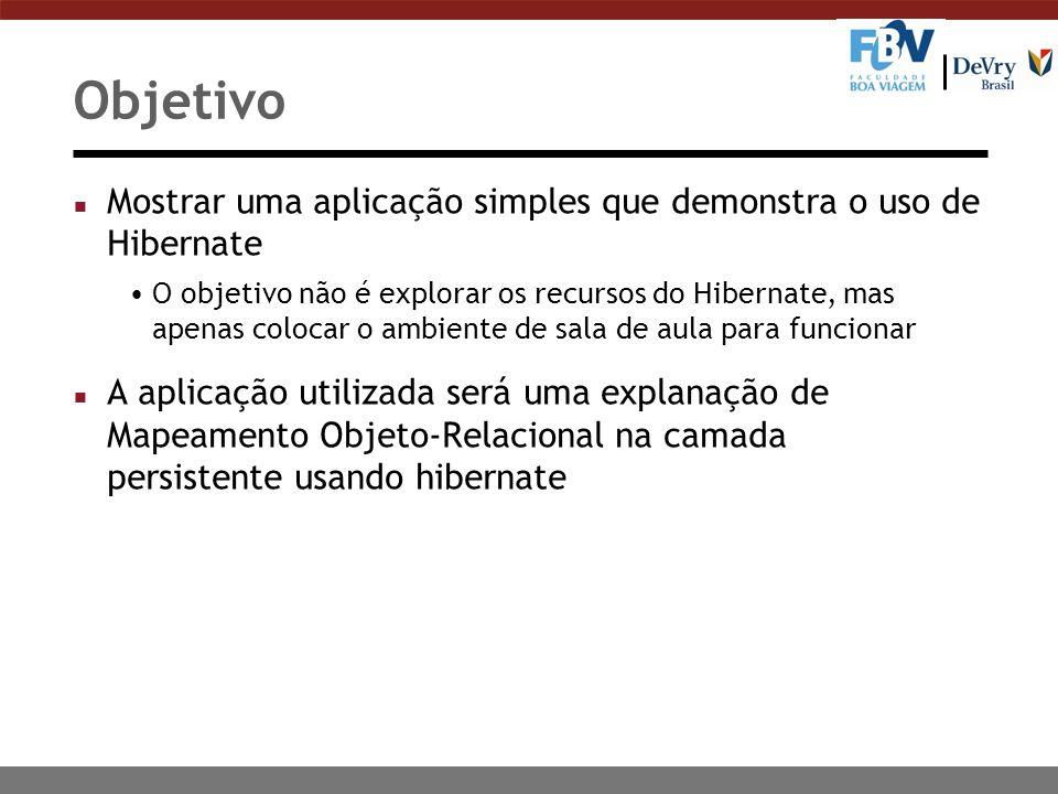 Objetivo Mostrar uma aplicação simples que demonstra o uso de Hibernate.