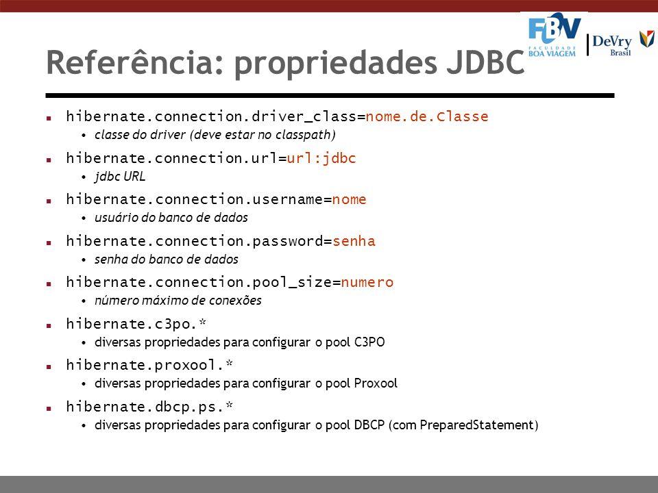 Referência: propriedades JDBC
