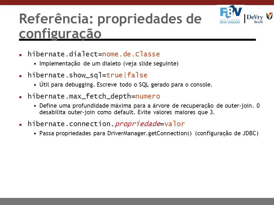 Referência: propriedades de configuração