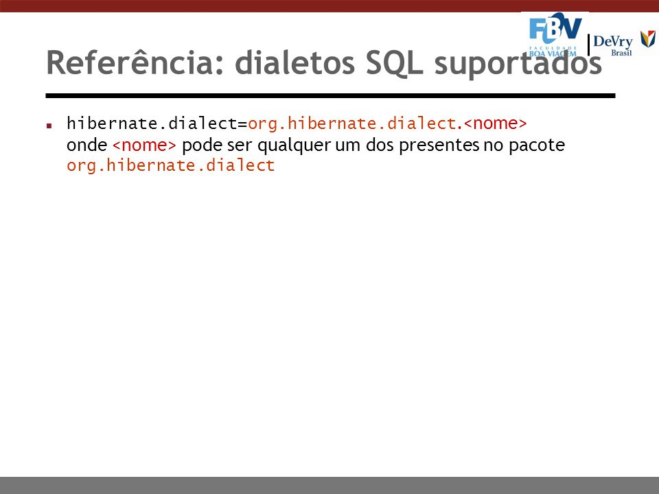 Referência: dialetos SQL suportados