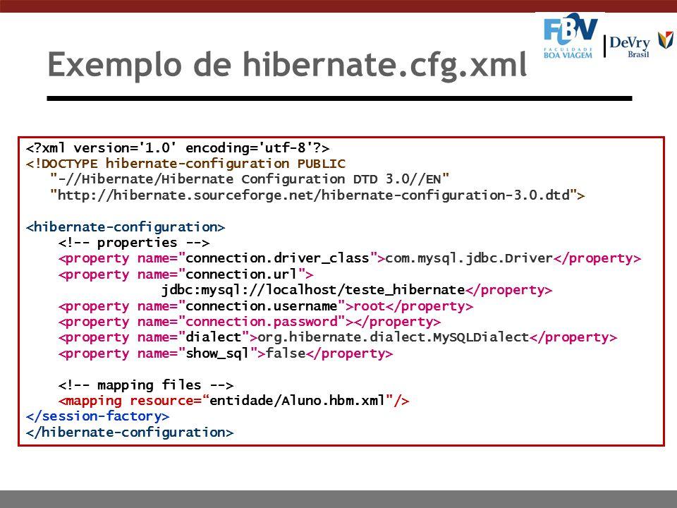 Exemplo de hibernate.cfg.xml