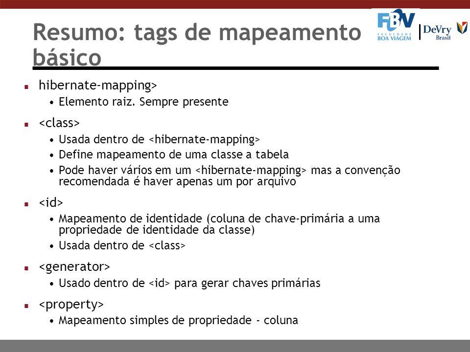 Resumo: tags de mapeamento básico