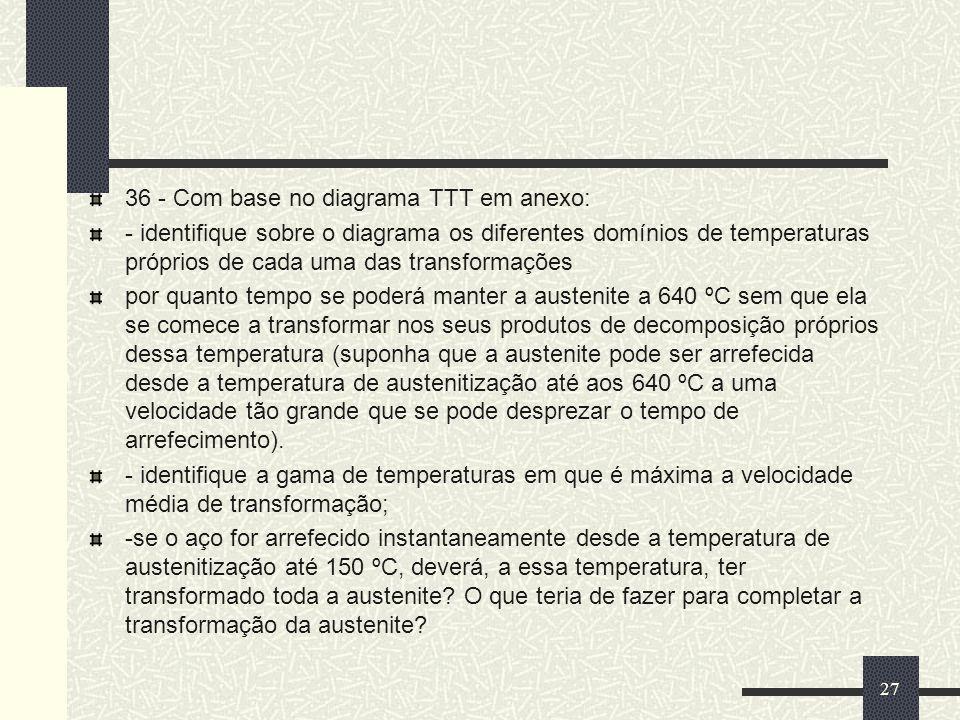 36 - Com base no diagrama TTT em anexo: