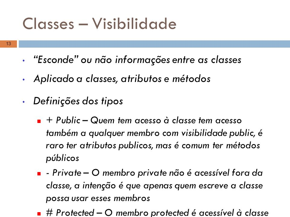 Classes – Visibilidade