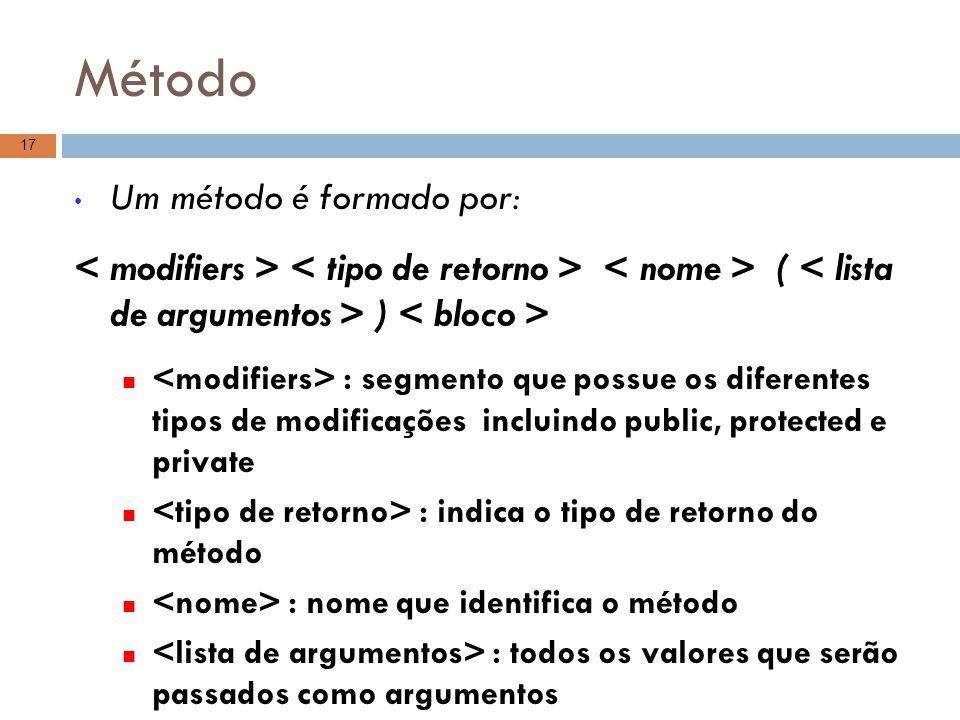 Método Um método é formado por: