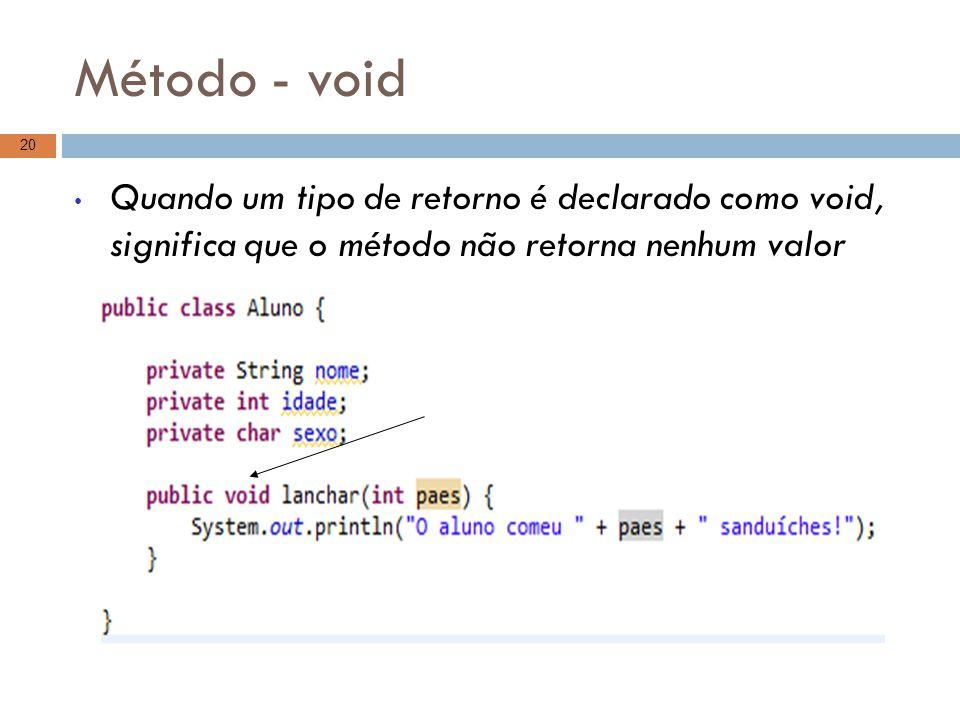 Método - void Quando um tipo de retorno é declarado como void, significa que o método não retorna nenhum valor.