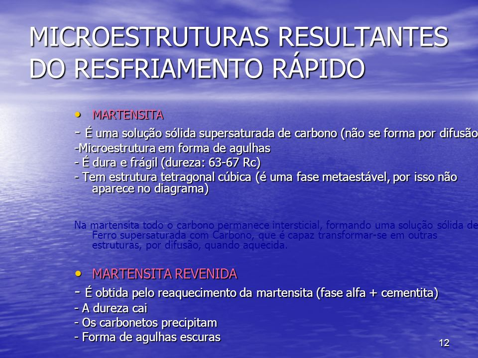 MICROESTRUTURAS RESULTANTES DO RESFRIAMENTO RÁPIDO