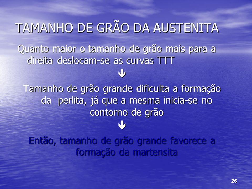 TAMANHO DE GRÃO DA AUSTENITA