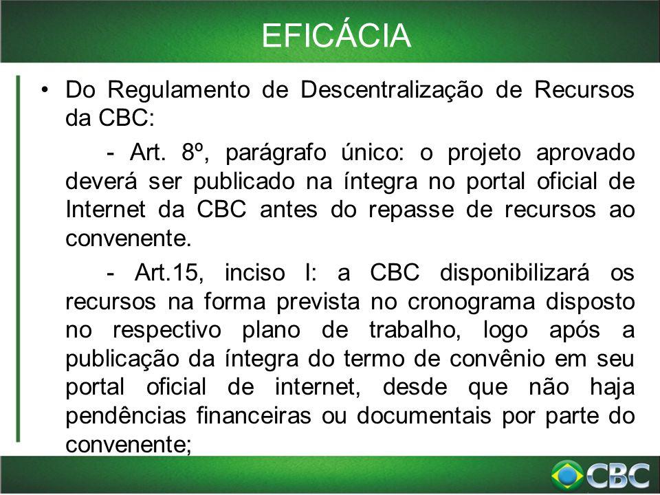 EFICÁCIA Do Regulamento de Descentralização de Recursos da CBC: